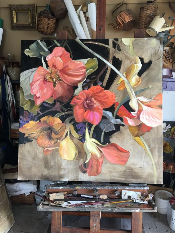 Diana Watson painting still on the easel: