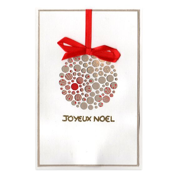 Carte no l boule de no l marron rouge et or collection lovely dentelle lov - Pinterest boule de noel ...