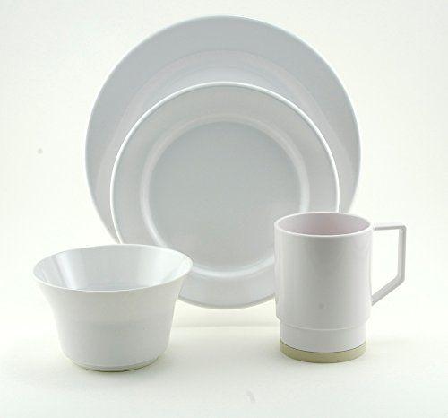 New NAUTICA  MELAMINE DINNER PLATES  /& BOWLS  8 Pieces Gray
