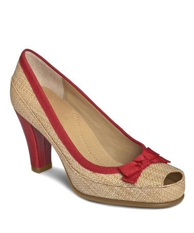 Take a look at this Natural & Red Benefit Pump by Aerosoles on #zulily today!