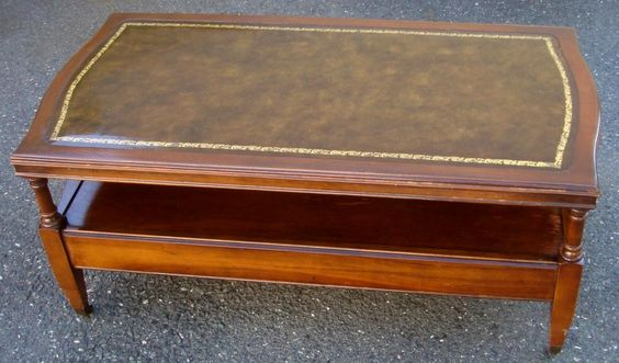Antique Coffee Tables wleather inlay Antique Coffee Table w