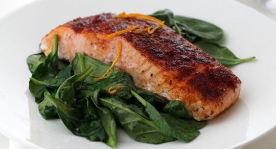 FAVORITE! Smoked Paprika Roasted Salmon with Wilted Spinach. Next Time: Cook for full 15 minutes