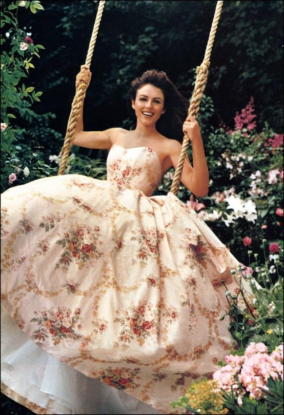 ...to find us a big ol' dress and a swing, a la Elizabeth Hurley in those classic Estee Lauder Pleasures ads. | Princesses follow us here! --> http://www.pinterest.com/thevioletvixen/princess-for-a-day/