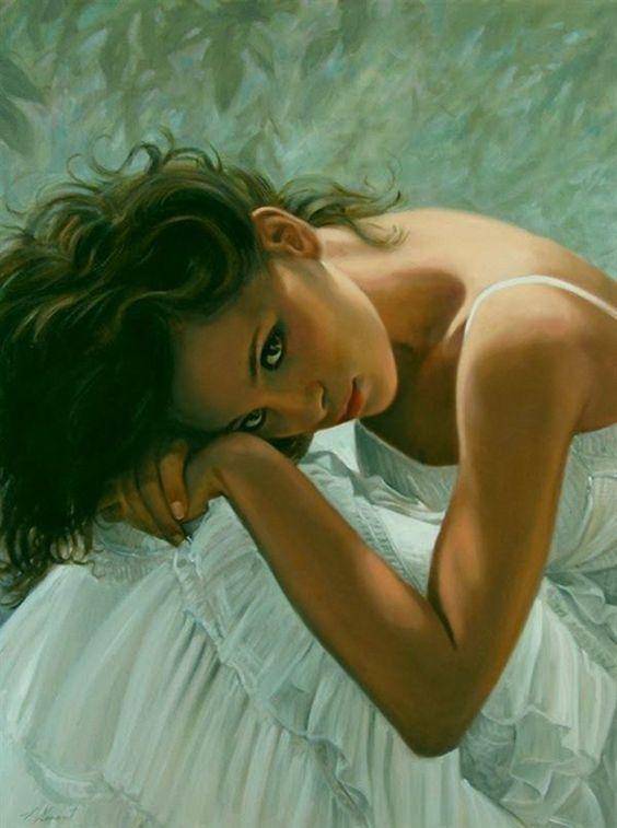 Artist: Emmanuel Garant (b. 1952), oil on linen {contemporary figurative female beautiful woman painting} emmanuelgarant.com