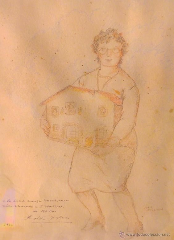 DIBUIX ORIGINAL DE LOLA ANGLADA 32X24, FIRMAT (BIS) I DEDICAT 1980 - Foto 1