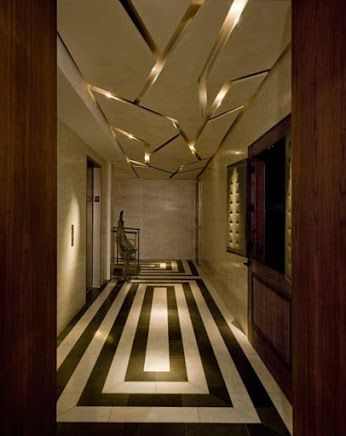Great geometric floor pattern gold ceiling great for Interior designer design kansas city