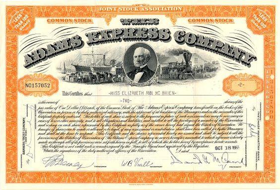 Adams Express Company - 1955 Stock Certificate
