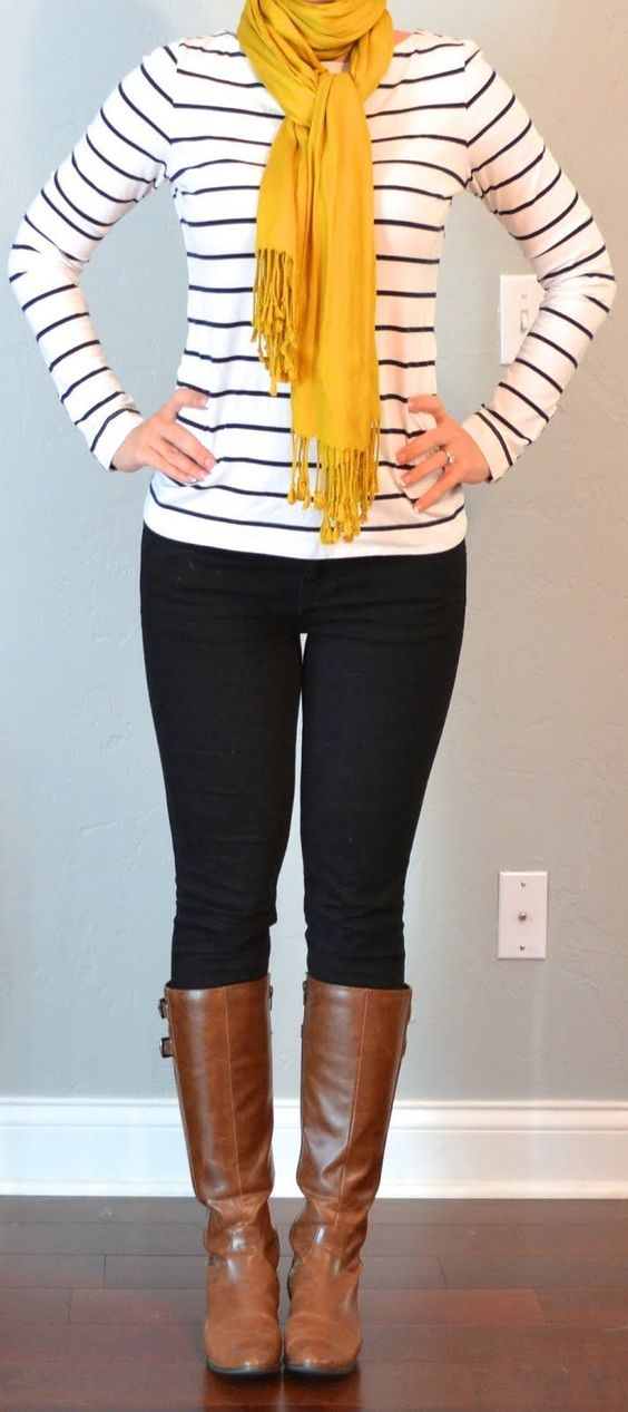 Don't know if I would do skinny jeans, but this is cute!  Stripes, black skinnies, brown boots with ...