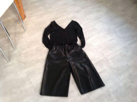 Leder Hosenrock culottes Hose Shorts schwarz von ginatrikot S M Pullover Paillet