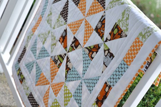 Pinwheel Zoo Baby Quilt by Pleasant Home, via Flickr (Any pattern you use for a baby quilt can always be added to for a full sized quilt )
