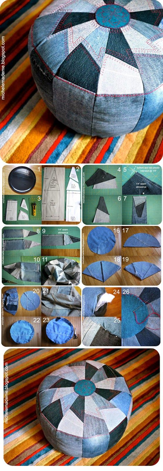 ABCDIY: 13 Ideas to Recycle Old Jeans into Useful Thing... The pouf caught my eye, but scroll down to the denim drink coasters: use up the jean SEAMS! Ingenious.                                                                                                                                                      More: