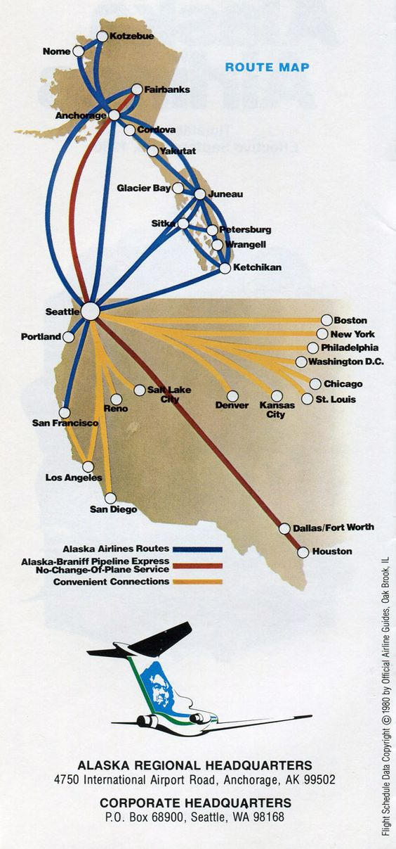 Alaska Airlines 1980 Route Map  Travel  Pinterest  Maps