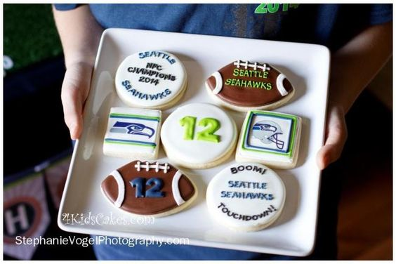 Seakhawks Football Boy's Birthday Party Cookies