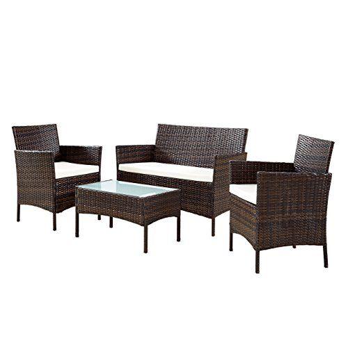 Ebs Ensemble 3 Pieces Meuble Salon De Jardin En Resine Tresse 1 Canape 2 Chaises 1 Table Marron Meuble Salon Decoration Salon Et Agrement De Jardin