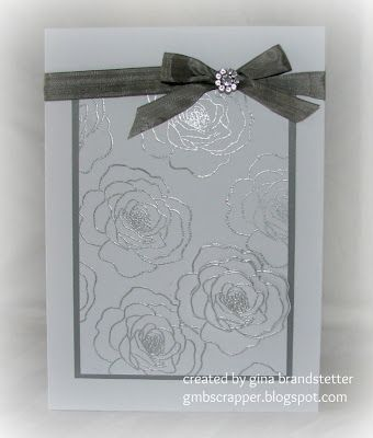 Silver Embossed Wedding Card.  Could use secret garden for this look.