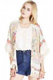ROMWE Tassels Embellishment Floral Print Buttonless Loose Coat