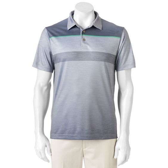 Men's Grand Slam Classic-Fit Ombre-Striped Driflow Performance Golf Polo, Size: Medium, Med Grey