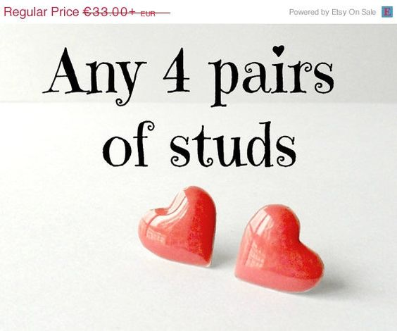Vacation SALE Set of four post earrings, bridesmaid set of studs, valentine's gift