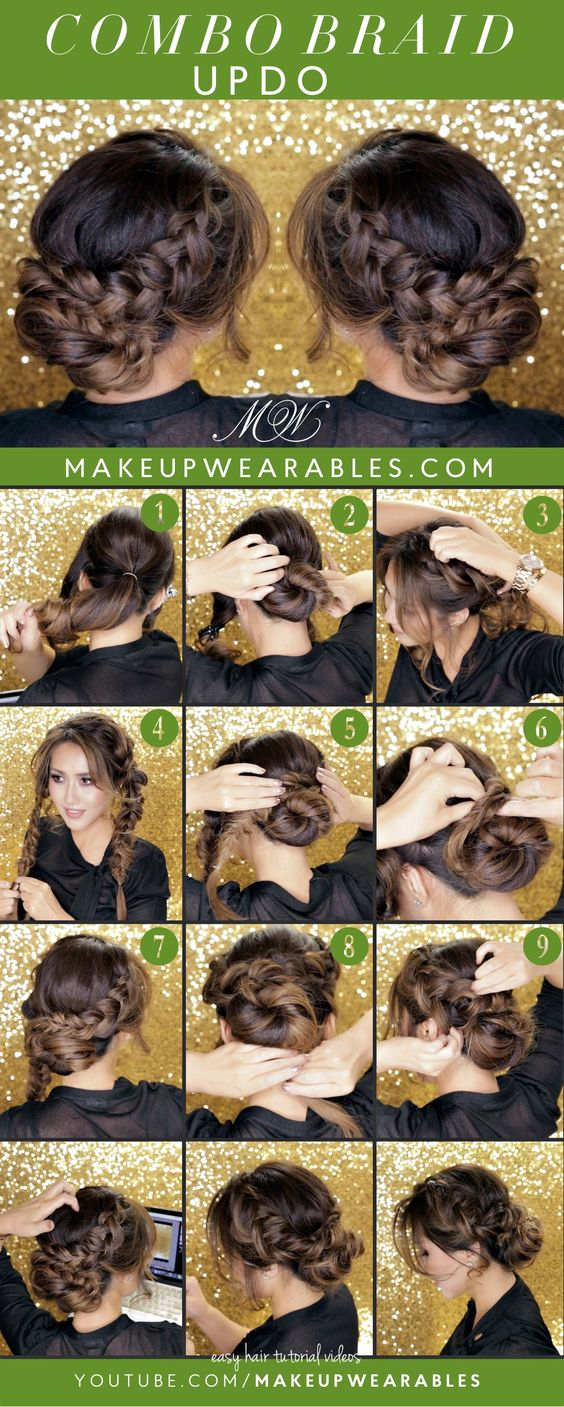 Curly Romantic Bun | Holiday Updo Hairstyles | #Braids | Cute Easy Hair Style