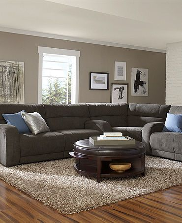 Color combination taupe wall brown sectional wood for Brown taupe living room