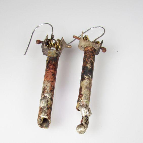 roxy lentz, earrings - brass, repurposed silver plate tray, melted silver, brass wire.