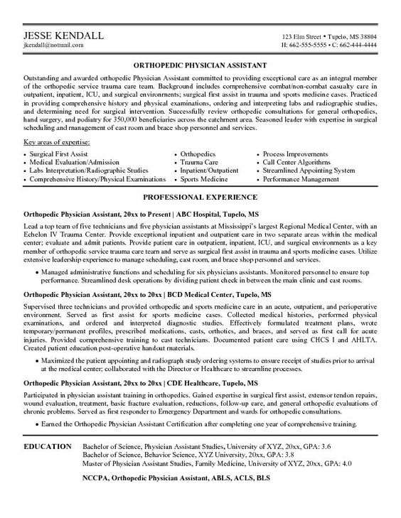 cv examples   our   top pick for orthopedic physician assistant    cv examples   our   top pick for orthopedic physician assistant resume development
