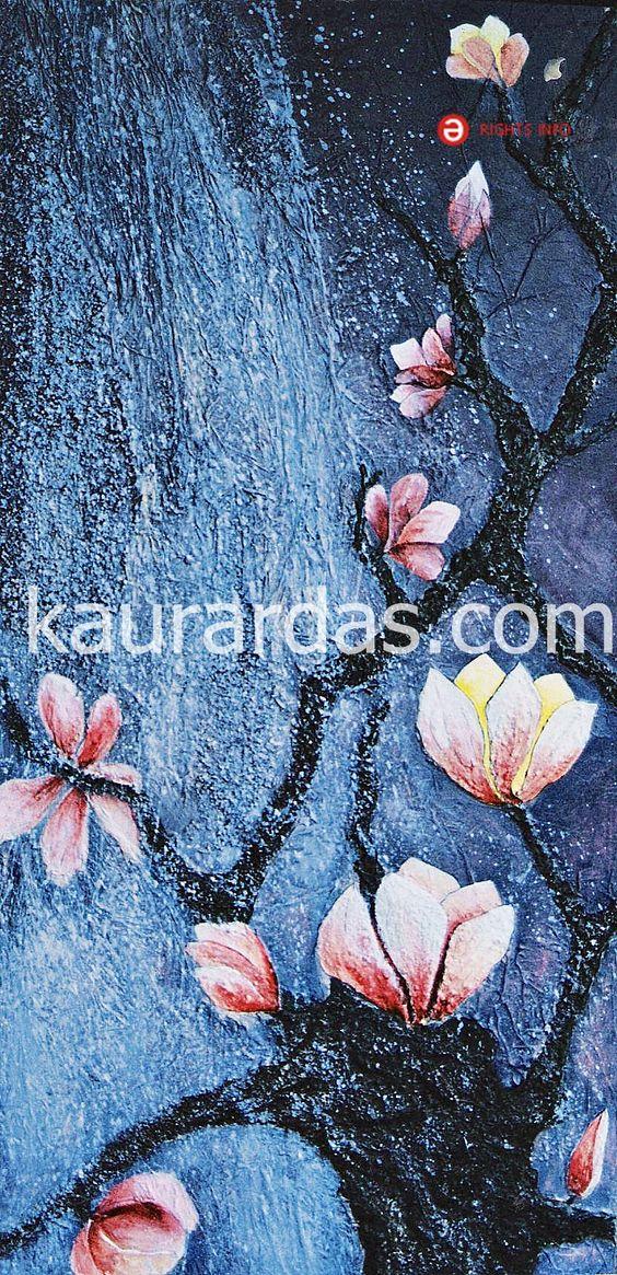 """Alguna vez soñé con un árbol repleto de flores enormes y, en la medida que transcurría el sueño, yo misma me había convertido en el.    Colección: """"El Árbol de la vida"""".  Magnolias.    Acrílico / Mixta sobre tabla  60 x 120 .   Año 2000      kaurardas.com"""