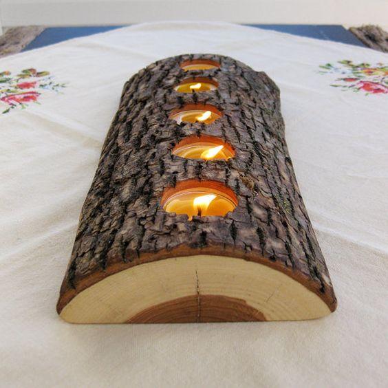 5 Teelicht Holz Kerze Halter niedrig von BlisscraftandBrazen