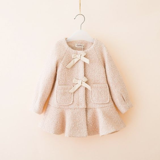 Little Girls Wool Coats Outwear For 2 3 4 5 6 Yrs Kids Dress Coats