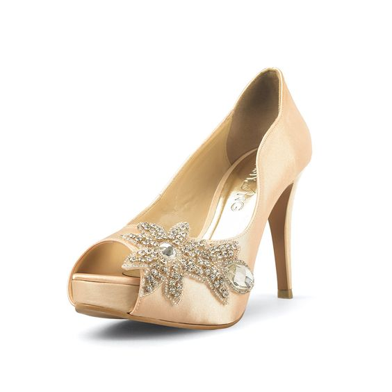 Nobility Champagne Peep Toe Wedding Heel with Swarovski Elements ...
