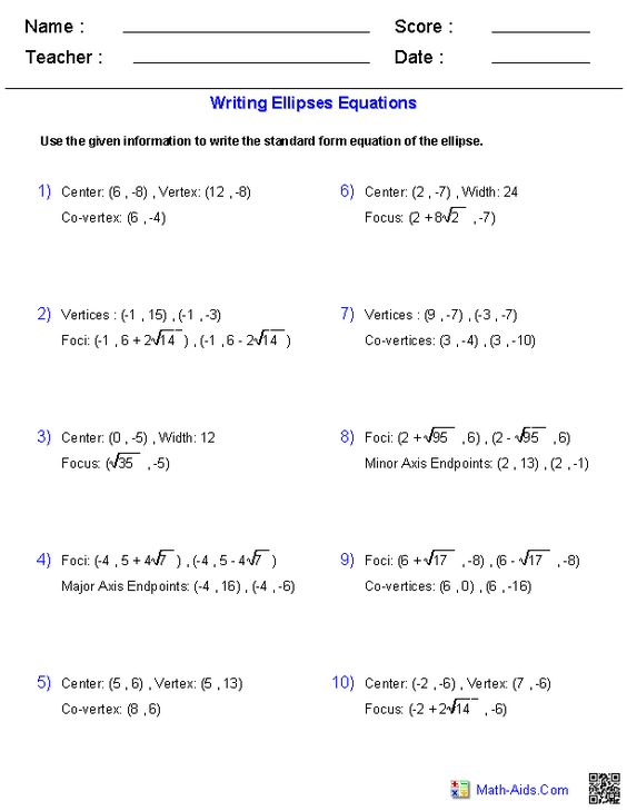 Worksheets Ellipses Worksheet equation worksheets and writing on pinterest equations of ellipses worksheets
