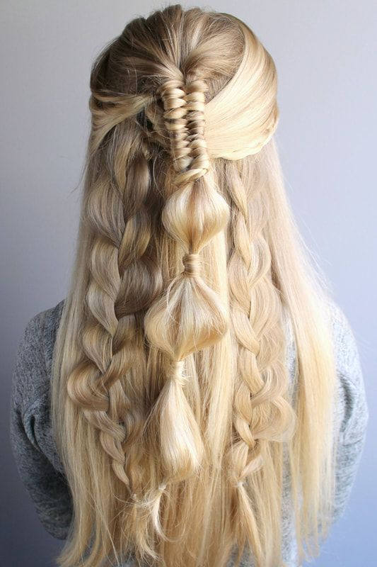 Half Up Festival Hairstyle With Multiple Braids Cool Braid Hairstyles Hair Styles Braided Hairstyles