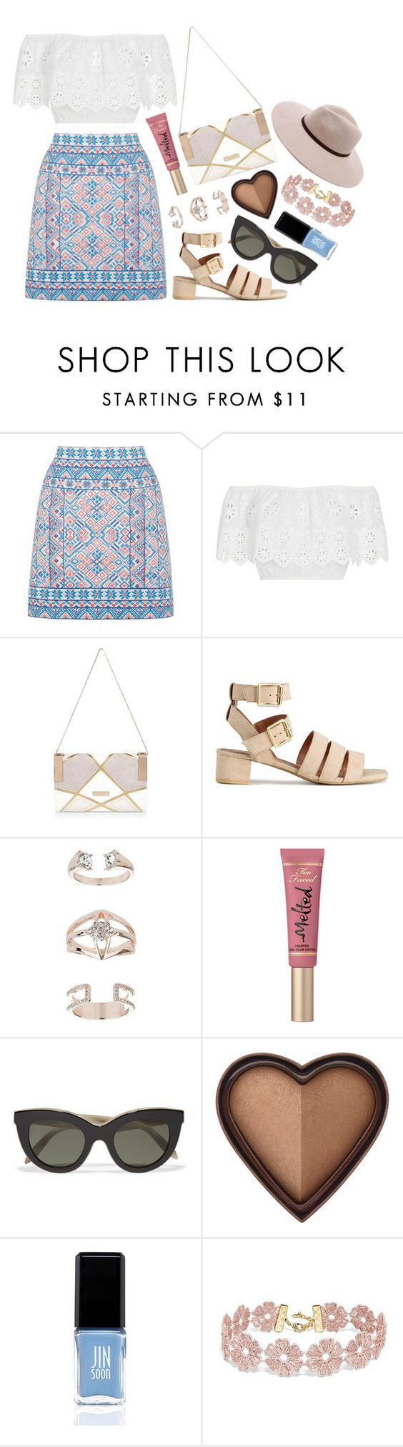 """Summer"" by stephlv ❤ liked on Polyvore featuring Oasis, Miguelina, River Island, Topshop, Too Faced Cosmetics, Victoria Beckham, JINsoon, BaubleBar and Billabong"