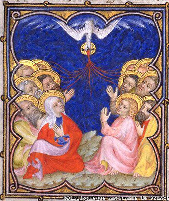 "Petites Heures de Jean de Berry_Pentecost Artwork: Pentecost Artist: UNKNOWN; Illustrator of 'Petites Heures de Jean de Berry' Date: 14th century Technique: Illumination Location: Bibliothéque Nationale de France, Paris Notes: From ""Petites Heures de Jean de Berry"" Subject: The Descent of the Spirit Hosts: Bibliothèque Nationale de France [Artwork]"