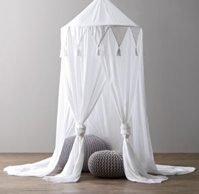 Cotton Voile Play Canopy. I bet this would be pretty easy to make with a hula hoop; or you can just pay restoration hardware $110 and it's yours