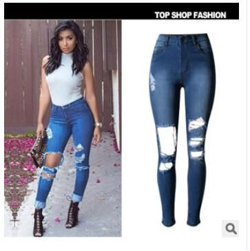 Ripped Jeans for Women Elastic Waist Hole Jeans Pants Skinny High ...