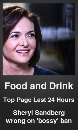 Top Food and Drink link on telezkope.com. With a score of 1096. --- Sheryl Sandberg wrong on 'bossy' ban. --- #foodanddrinkontelezkope --- Brought to you by telezkope.com - socially ranked goodness