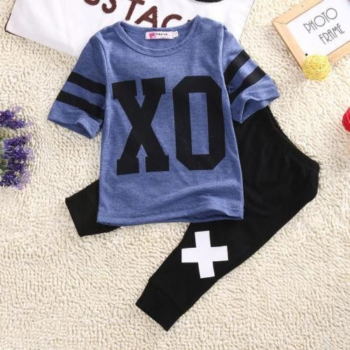2016 Newborn Toddler Infant Kids Baby Boy Clothes T-shirt Tops Pants Outfit Set