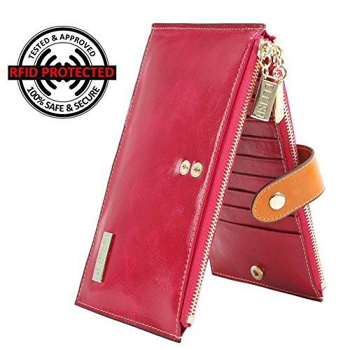 Elfish Womens RFID Card Organizer Privacy Wallet Zipper Wristlets Purse ** Click image for more details.