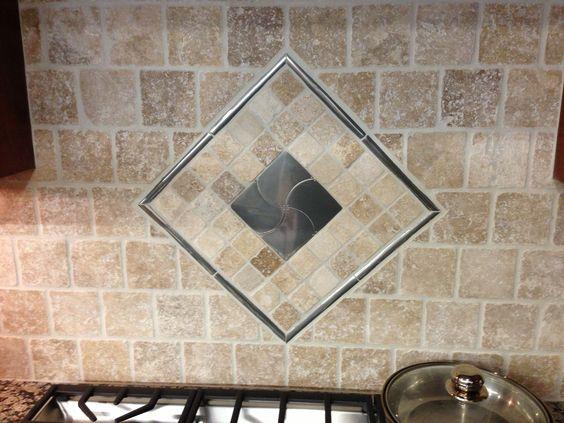 Tiled backsplash over the oven