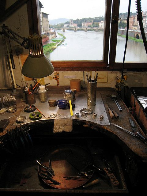 Jewler's work station in the ponte vechio.  I would love to have that view outside my bench!: