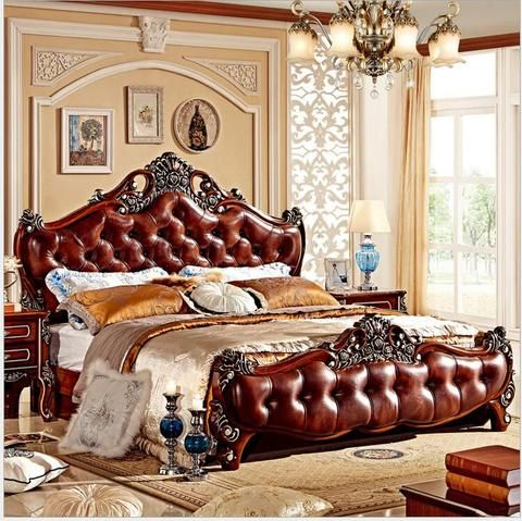 Modern European Solid Wood Bed Fashion Carved 1 8 M Bed French