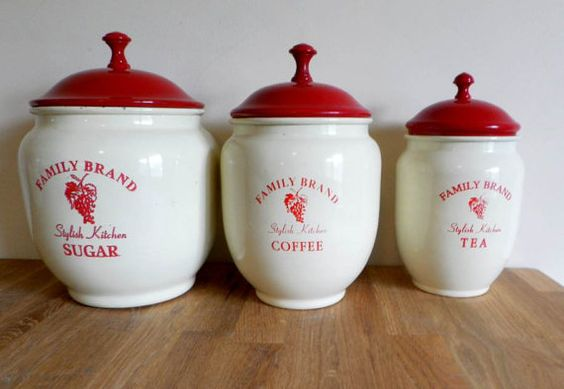 Enamel Canister Set Etsy Enamel Canisters Canister Sets Flour Container