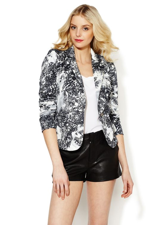 Cotton Printed Lace Blazer by Cluny at Gilt $139