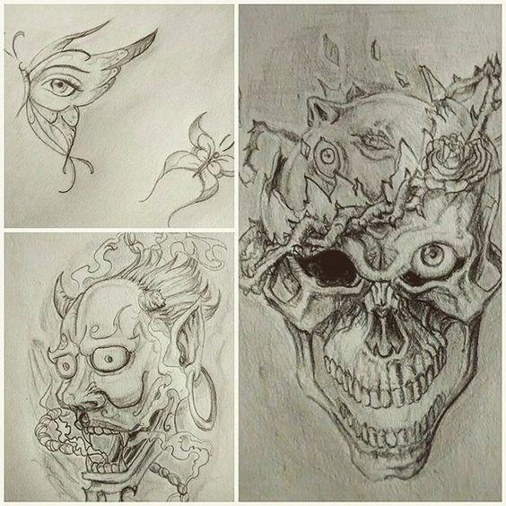 Rascunhos de hoje .  61 98276-3323, águas claras #tatuagem#tattooidea #desenhotattoo #desenho #desenhos #tatuagemideias #caveira #skull #sketch #sketchbook #butterfly #borboleta #tattoo2me #butterflytattoo #hannya #japanese #traditionalart #tatuadordf #aguasclaras #taguatinga #brasilia #alangore #berserk #skullknight #rose #fanart