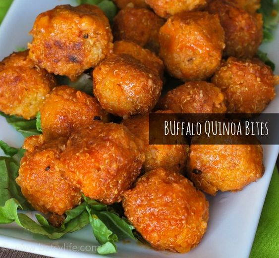 Buffalo Quinoa Bites. TO DIE FOR!!!! I baked them at 375 for 15-20 minutes.... AMAZING!!! I will definitely make them again! :D #vegetarian #recipes #healthy #recipe #easy