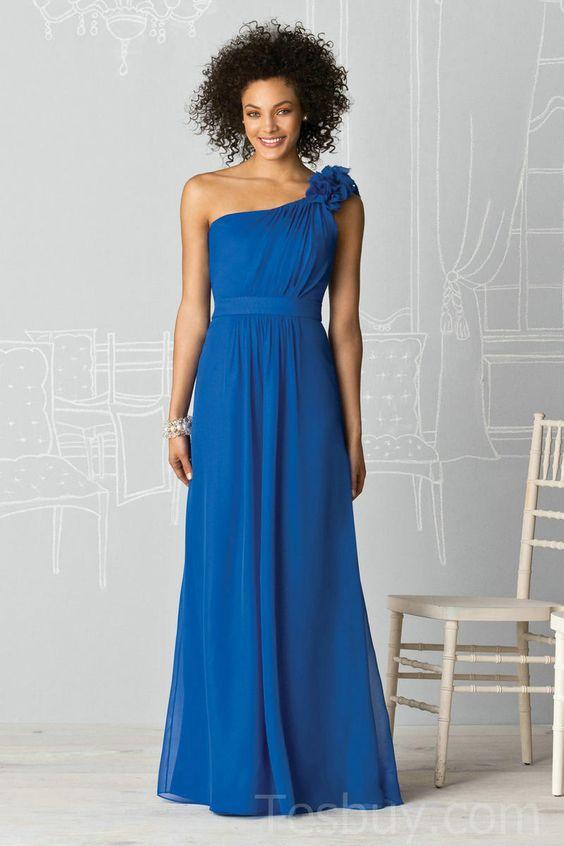 One Shoulder Royal Blue Chiffon Long Bridesmaid Dress-Wholesale ...