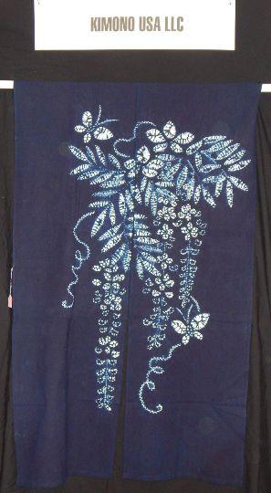 Indigo and White Shibori Wisteria Noren - Traditional Japanese Split Curtain for Doorways - $60.00. See Kimono USA's shop on Etsy.