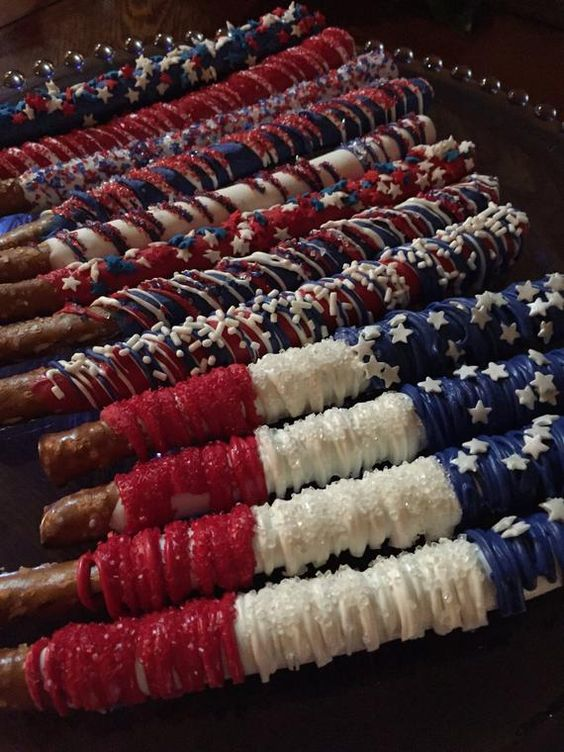 Labor Day/4th of July Chocolate Covered Pretzels(1 DOZ)/Party Favors/July Birthdays/Red White & Blue/BBQ Treats Red/White/Blue