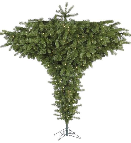 Sale 7.5u0027 Upside Down Christmas Tree  Lit   Nice Floor Space Saver
